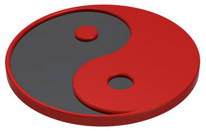 Black And Red Yin-yang, Symbol Of Harmony.