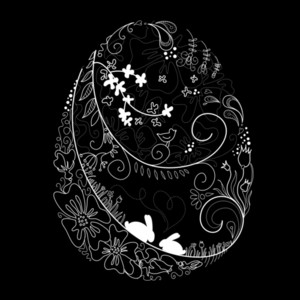 Black And White Easter Egg Illustration-