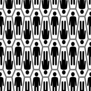 Black And White Halloween Seamless Pattern With Coffins