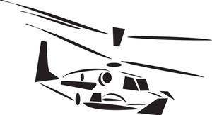 Black And White Helicopter While Landing.