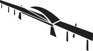 Black And White Illustration Of A Bridge.
