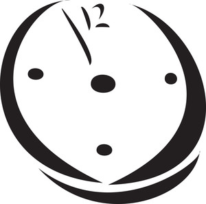 Black And White Illustration Of A Chritmas Clock.