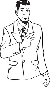 Black And White Illustration Of A Young Man In Suit