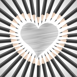Black And White Pencils Sketch Heart Shape