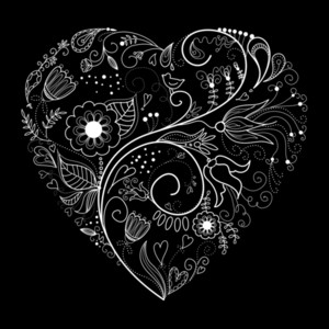 Black And White Valentine Heart Illustration.-