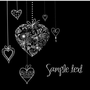 Black And White Valentine Heart Shapes Illustration.-