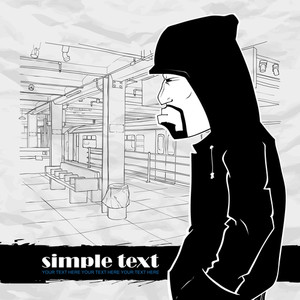Black And White Vector Illustration Of Graffiti Character At  Subway Station.