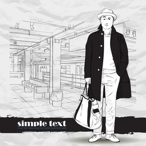 Black And White Vector Illustration Of Stylish Autumnal Guy At  Subway Station.