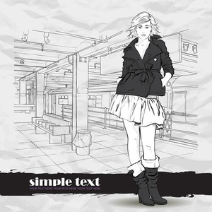 Black And White Vector Illustration Of The Pretty Autumnal Girl At  Subway Station.
