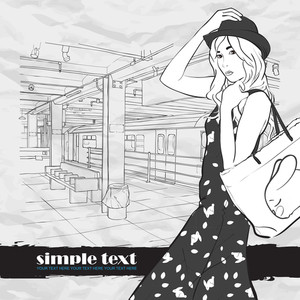 Black And White Vector Illustration Of The Pretty Girl At  Subway Station.