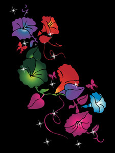 Black Background With Colorful Flower Illustration