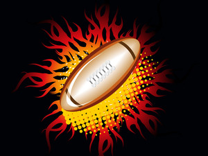 Black Background With Fiery Rugby Bal