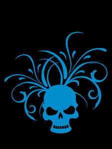 Black Background With Floral Pattern Skull
