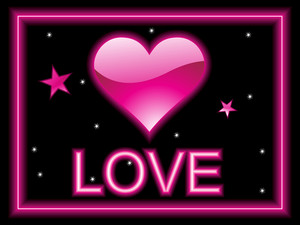 Black Background With Isolated Pink Heart