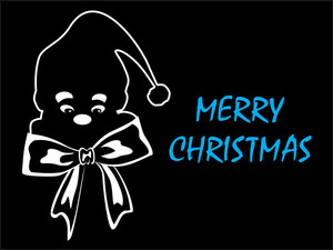 Black Background With Santa Face