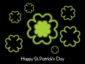 Black Background With Shamrock Blossom