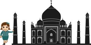 Black  Cartoon Vector Taj Mahal