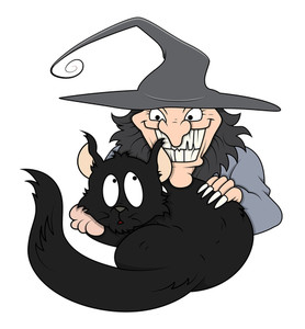 Black Cat In Funny Wicked Witch Arms - Halloween Vector Illustration