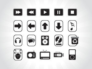 Black Electronic Icons Vector