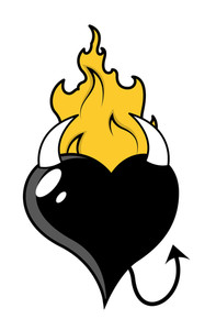 Black Evil Heart With Flames - Vector Illustration