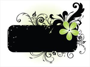 Black Floral Pattern Banner