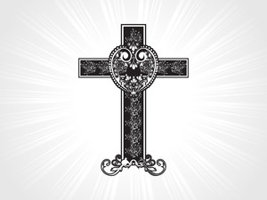 Black Floral Pattern Cross Illustration