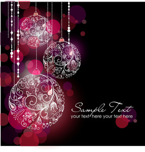 Black Glamorous Christmas Background With Christmas Ornaments