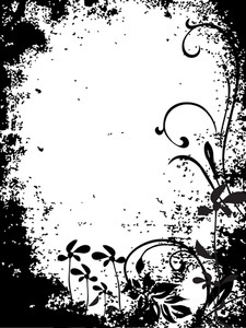 Black Grungy Floral Pattern