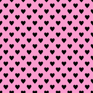 Black Hearts Pattern On A Pink Background