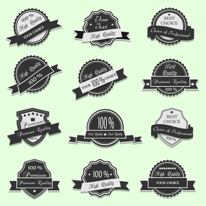 Black Premium Quality Labels. Vector Set