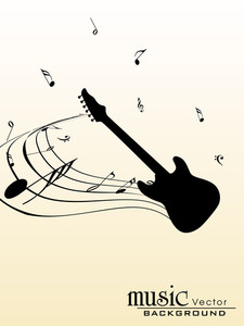 Black silhouette of guitar on abstract background.