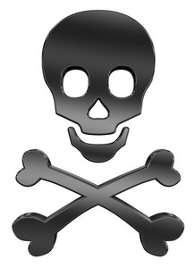 Black Skull And Crossbones Isolated On White.