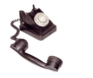 Black Vintage Phone Isolated On White