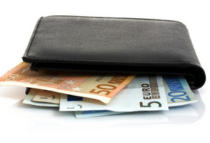 Black Wallet Containing Euros