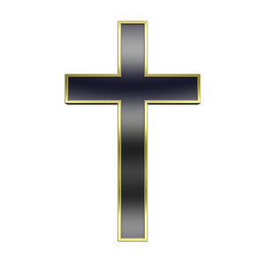 Black With Gold Frame Christian Cross Isolated On White.