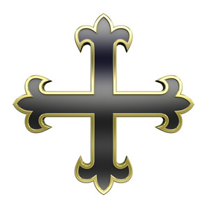 Black With Gold Frame Heraldic Cross Isolated On White.
