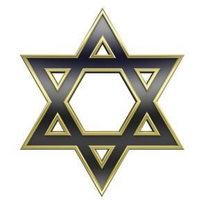 Black With Gold Frame Judaism Religious Symbol - Star Of David