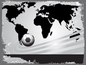 Black World Map With Soccer