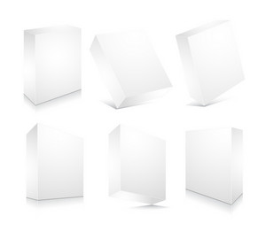 Blank 3d Boxes Set Vector Illustration