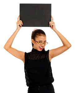 Blank Black Board Held By Smiling Girl