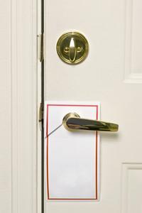 Blank Doorhanger Flyer on Door