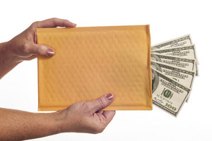 Blank Envelope With Hundred Dollar Bills