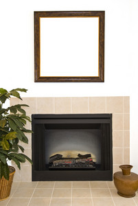 Blank Frame Over Fireplace