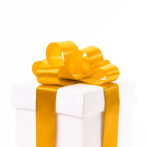 Blank gift box with ribbon and bow