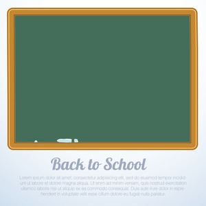"Blank Green Chalkboard, Blackboard Vector ""back To School"" Background"