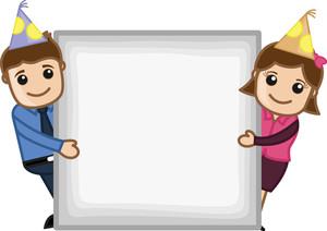 Blank Party Billboard - Cartoon Business Characters