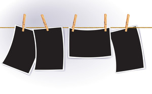 Blank Photo Frames On Rope. Vector.