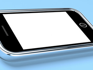 Blank Smartphone Screen With White Copyspace And Blue Background