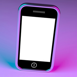 Blank Smartphone Screen With White Copyspace And Mauve Background