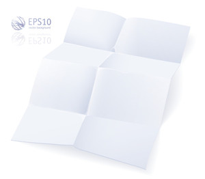 Blank White Crumpled Paper On White Background. Vector.